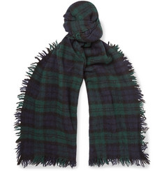 Alex Mill Fringed Checked Boiled Wool Scarf