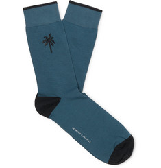 Desmond & Dempsey Embroidered Stretch Cotton-Blend Socks