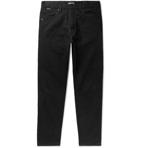 Tom Ford Tapered Denim Jeans In Black