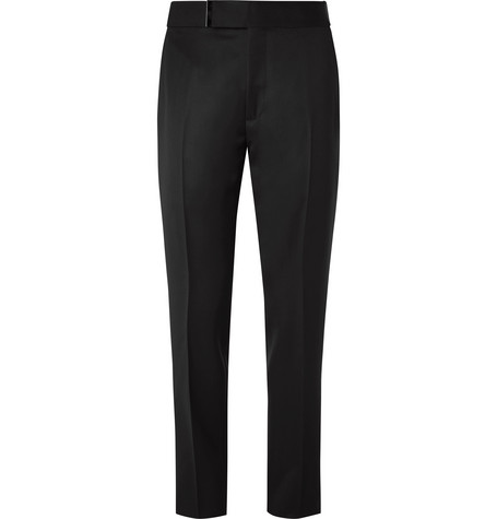 TOM FORD Black Atticus Wool and Mohair-Blend Grain de Poudre Trousers