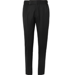 TOM FORD Black Slim-Fit Grosgrain-Trimmed Grain de Poudre Wool and Mohair-Blend Trousers
