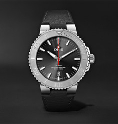 Oris Aquis Date Relief Automatic 43.5mm Stainless Steel and Leather Watch