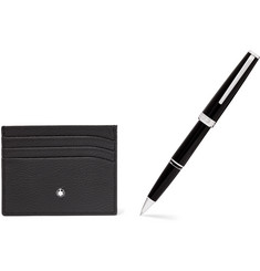 Montblanc Meisterstück Full-Grain Leather Cardholder and Resin Ballpoint Pen Set