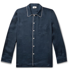 Sleepy Jones Henry Piped Silk-Twill Pyjama Shirt