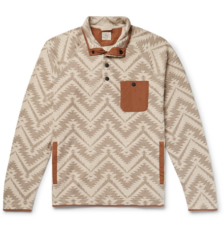Monument Valley Shell Trimmed Printed Cotton Blend Fleece Sweatshirt by Faherty