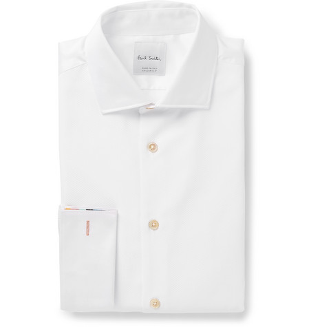 Paul Smith White Dynasty Slim-Fit Bib-Front Double-Cuff Cotton Shirt