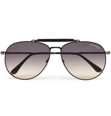 44a215ee9 TOM FORD - Aviator-Style Leather-Trimmed Gunmetal-Tone Sunglasses