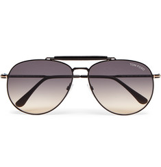 TOM FORD - Aviator-Style Leather-Trimmed Gunmetal-Tone Sunglasses