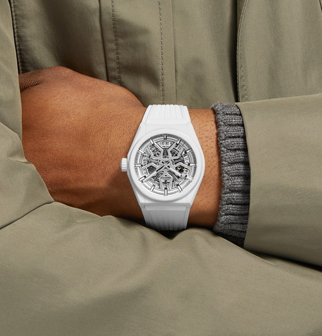 Defy Classic Automatic 41Mm Ceramic And Rubber Watch in White