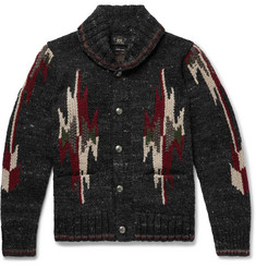 RRL Shawl-Collar Wool and Silk-Blend Jacquard Cardigan