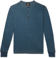 RRL Slim-Fit Waffle-Knit Mélange Cotton Henley T-Shirt