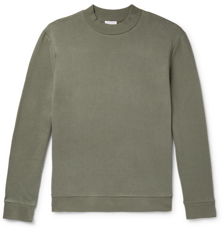 Sunspel Fleece-Back Cotton and Cashmere-Blend Jersey Sweatshirt