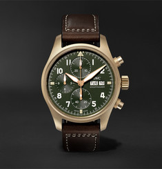 IWC SCHAFFHAUSEN - Pilot's Spitfire Automatic Chronograph 41mm Bronze and Leather Watch