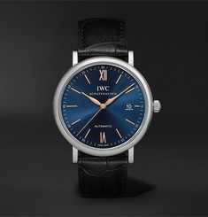 IWC SCHAFFHAUSEN - Portofino Automatic 40mm Stainless Steel and Alligator Watch