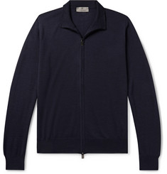 Canali Slim-Fit Merino Wool Zip-Up Cardigan