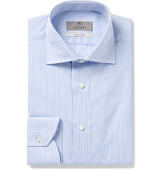 Canali Light-Blue Striped Cotton-Poplin Shirt