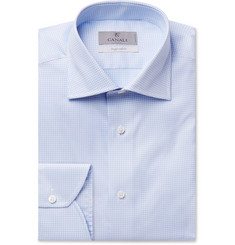 Canali Light-Blue Houndstooth Cotton Shirt