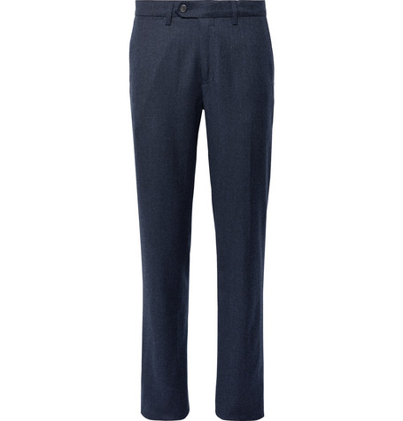 Canali Midnight-Blue Mélange Virgin Wool-Flannel Trousers