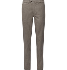 Canali Slim-Fit Herringbone Cotton-Blend Trousers