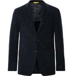 Canali Midnight-Blue Kei Slim-Fit Textured Stretch-Cotton Velvet Blazer