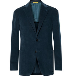 Canali Navy Kei Slim-Fit Stretch-Cotton Corduroy Blazer
