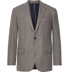 Freemans Sporting Club Brown Slim-Fit Houndstooth Wool and Silk-Blend Blazer