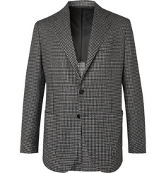 De Petrillo Posillipo Grey Unstructured Houndstooth Virgin Wool and Cashmere-Blend Blazer