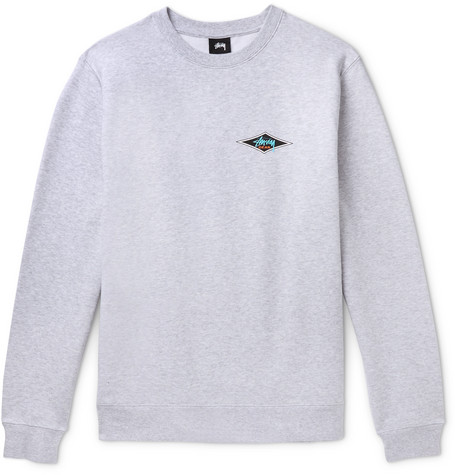 Printed Mélange Fleece Back Cotton Blend Jersey Sweatshirt by Stüssy
