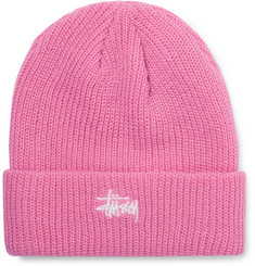 Stüssy Logo-Embroidered Ribbed-Knit Beanie