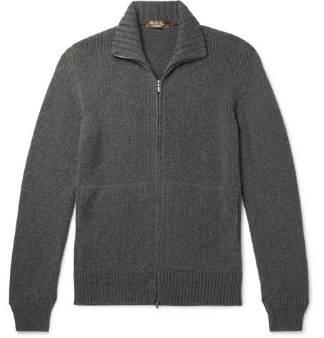 Loro Piana Men's Cashmere Zip-front Sweater In Gray