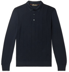 Loro Piana Slim-Fit Herringbone Virgin Wool Polo Shirt