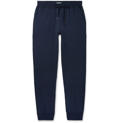 Hanro Loopback Stretch-Cotton Jersey Sweatpants In Blue