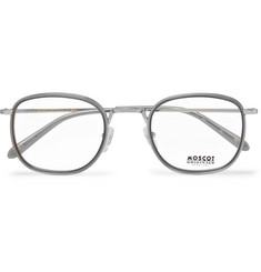 c93bdbf639 Moscot - Drimmel Square-Frame Silver-Tone and Acetate Optical Glasses
