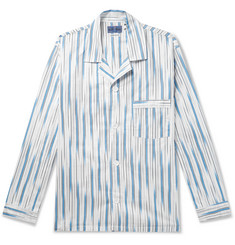 Blue Blue Japan Camp-Collar Striped Cotton-Twill Shirt