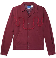 Blue Blue Japan Camp-Collar Braid-Embellished Twill Shirt Jacket