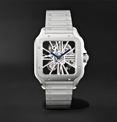 Cartier - Santos de Cartier Skeleton 39.8mm Interchangeable Stainless Steel and Alligator Watch