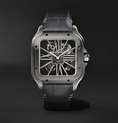 Cartier - Santos de Cartier Skeleton Noctambule 39.8mm ADLC-Coated Stainless Steel and Alligator Watch