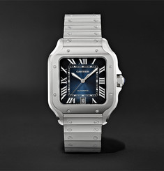 Cartier Santos de Cartier Automatic 39.8mm Interchangeable Stainless Steel and Croc-Effect Leather Watch