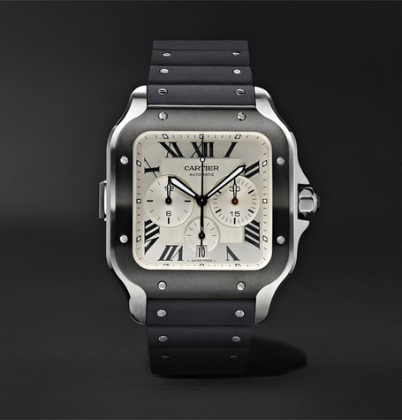 Cartier Santos de Cartier Automatic Chronograph 43.3mm Interchangeable ADLC-Coated Stainless Steel, Alligato