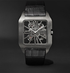Cartier - Santos-Dumont Skeleton 43.3mm ADLC-Coated Titanium and Alligator Watch