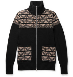 Oliver Spencer Slim-Fit Wool-Jacquard Zip-Up Sweater