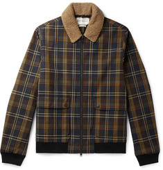Oliver Spencer - Bermondsey Shearling-Trimmed Checked Twill Bomber Jacket