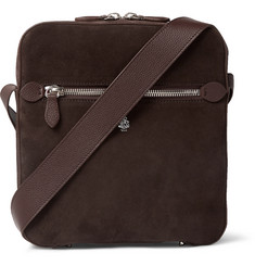 Mark Cross Baker Leather-Trimmed Suede Messenger Bag