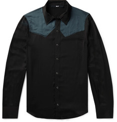 BILLY Colour-Block Satin Western Shirt