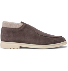 Loro Piana Open Wintery Walk Cashmere-Trimmed Suede Boots