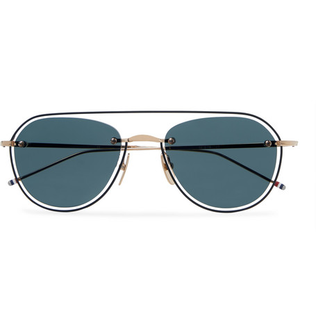 3e371ee08217 Thom Browne - Round-Frame Gold-Tone and Enamel Sunglasses