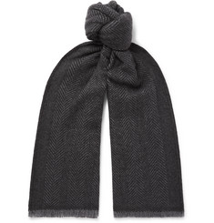 Ermenegildo Zegna Fringed Herringbone Mélange Cashmere and Wool-Blend Scarf