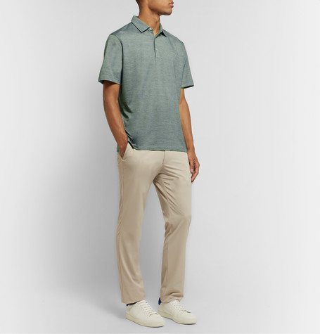 Peter Millar Excursionist Flex Space-dyed Stretch Cotton And Modal-blend Polo Shirt In Green