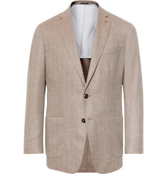 Peter Millar Beige The Winter Excursionist Herringbone Wool and Cashmere-Blend Blazer