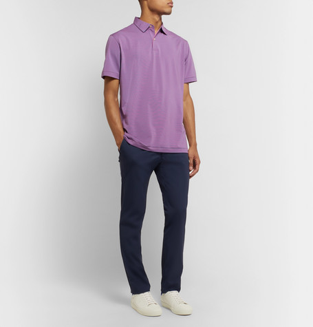 Peter Millar Coltrane Striped Stretch-jersey Polo Shirt In Purple